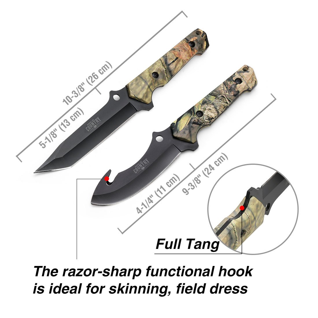 MOSSY OAK Fixed Blade Hunting Knife Set - 2 Piece, Full Tang Handle Straight Edge and Gut Hook Blades Game Processing Knife, Sheath Included by Mossy Oak (Image #1)