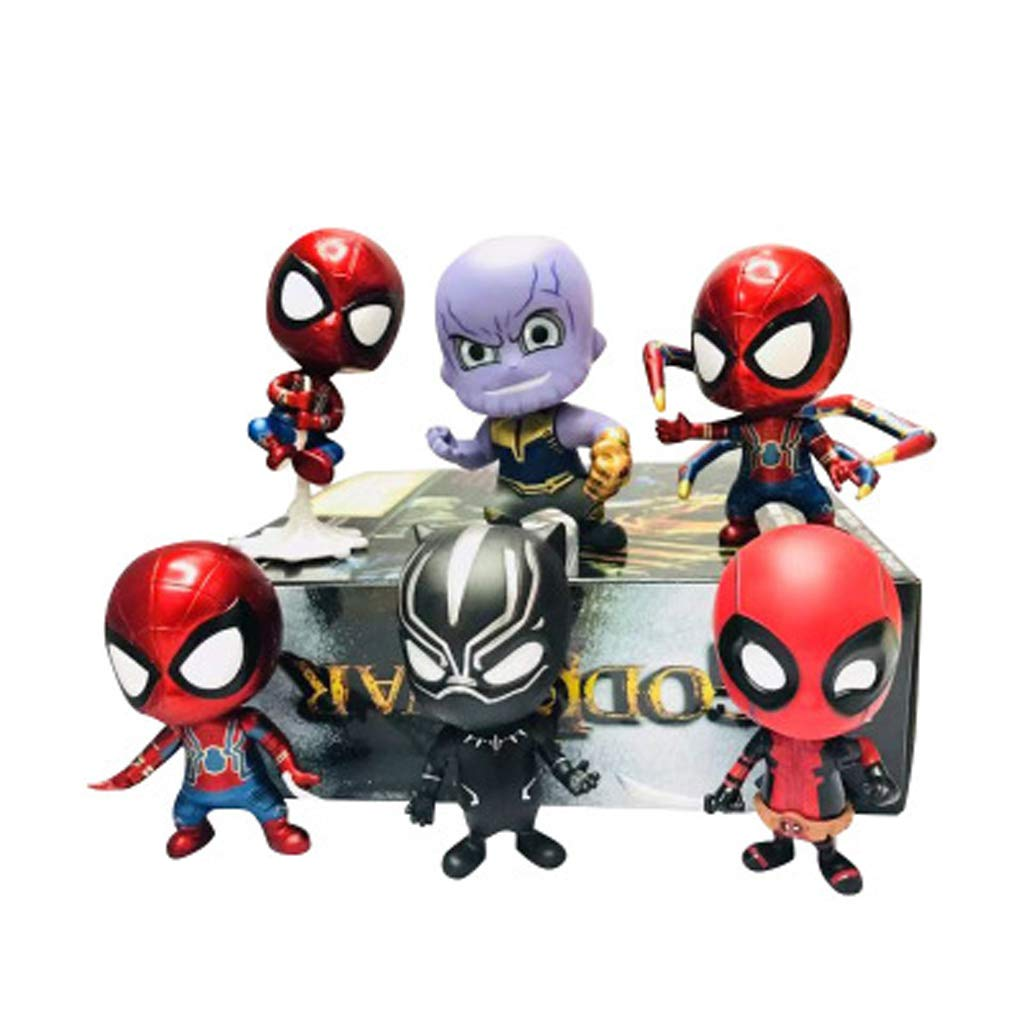 LLDDP Anime Model M-Arvel Anime Character Model Q Version Spider-Man Violent Black Panther 6pcs with Magnet, Adult Children's Toy Cartoon Character Role 13cm