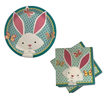 Easter Bunny Spring Celebration Paper Plates \u0026 Napkin - Party Supplies for 18 Guests (Bunny  sc 1 st  Amazon.com & Amazon.com: Easter Bunny Spring Celebration Paper Plates \u0026 Napkin ...
