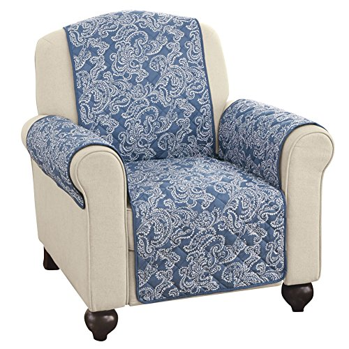 paisley reversible furniture protector cover blue chair