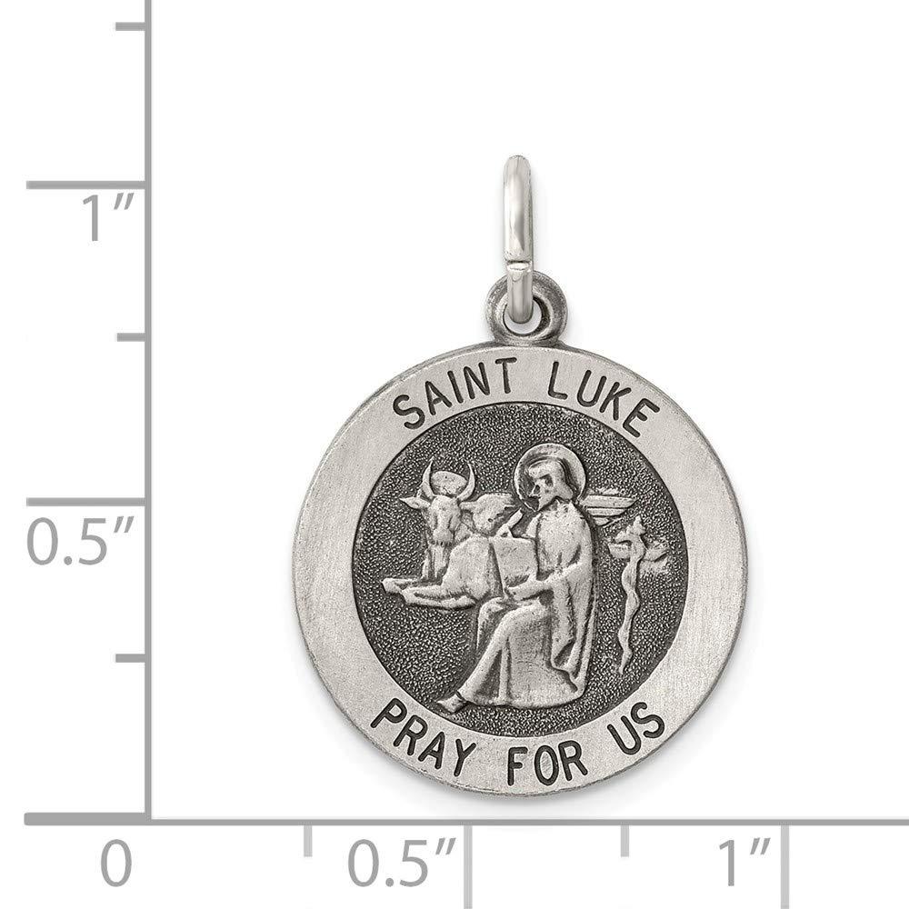 925 Sterling Silver Antiqued Saint Luke Medal