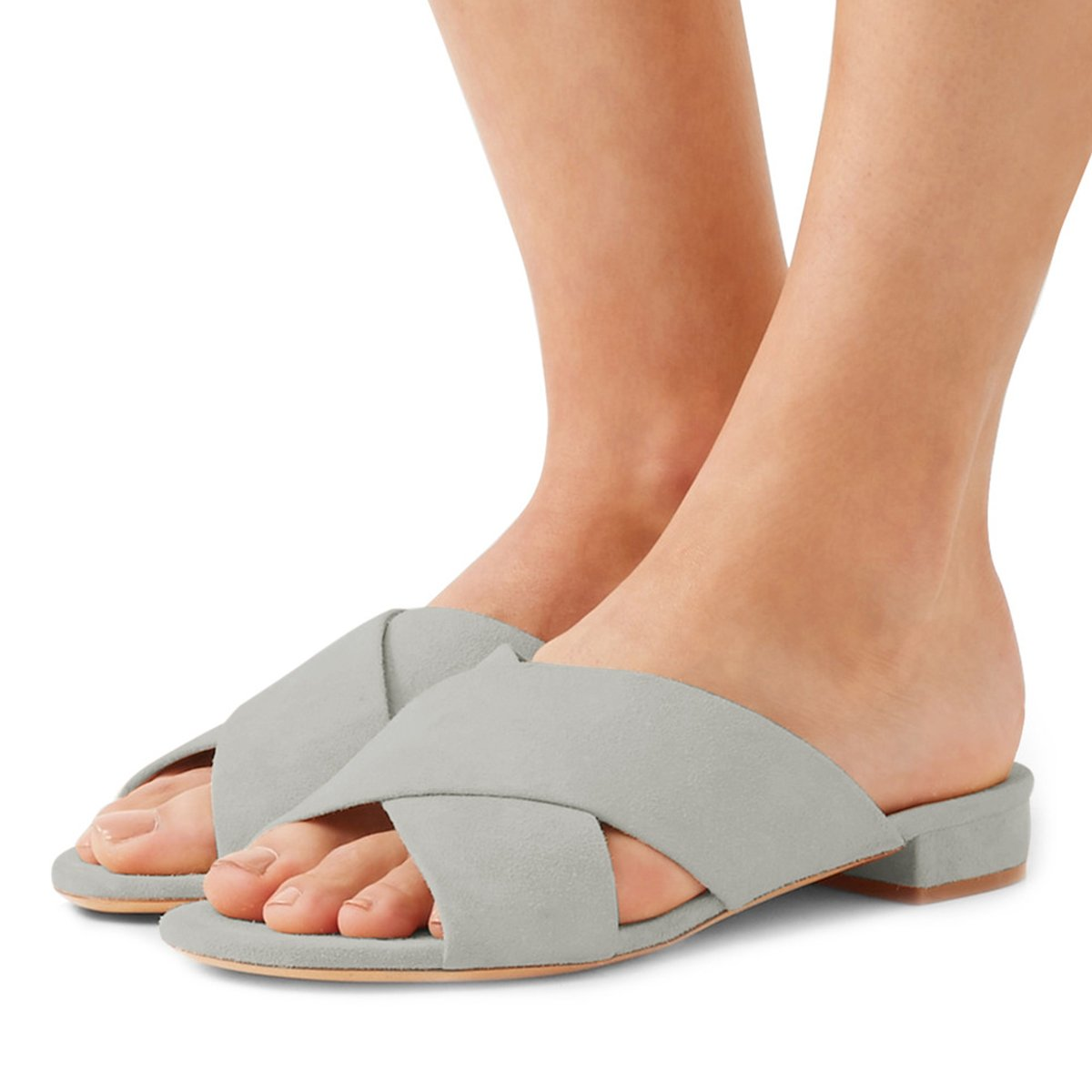 FSJ Women Comfortable Cross Strap Sandals Low Heels Mules Slide Casual Flats Shoes Size 4-15 US B07CTFDJ4H 14 B(M) US|Grey