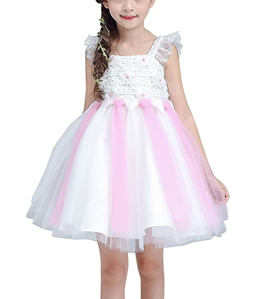 Feoya - Vestido Elegante de Princesa sin Mangas para Niña Vestido Infantil de Boda Fiesta Ceremonia