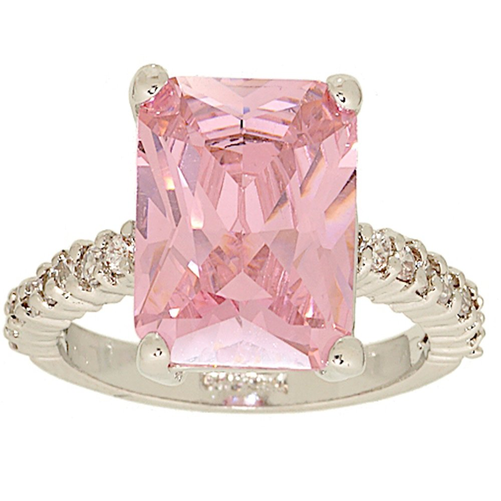 Amazon.com: Large Emerald Cut Pink Cubic Zirconia Solitaire Ring ...