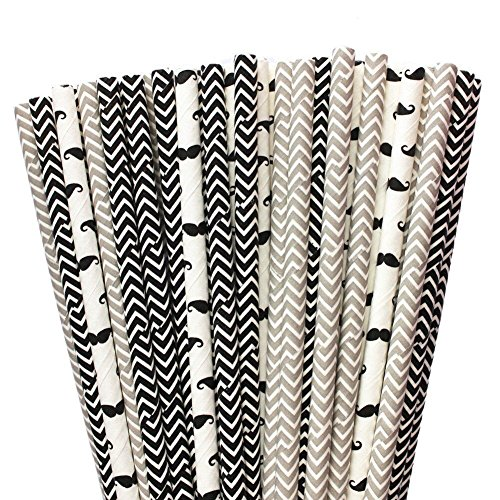 Black Series Paper Drinking Straws 19.7cm 150 Pack, Moustache and Chevron