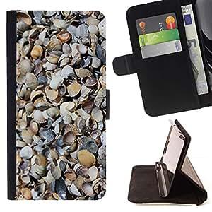 For Samsung Galaxy S6 EDGE (NOT S6) Case , Patrón Shore Sand Beach Naturaleza- la tarjeta de Crédito Slots PU Funda de cuero Monedero caso cubierta de piel