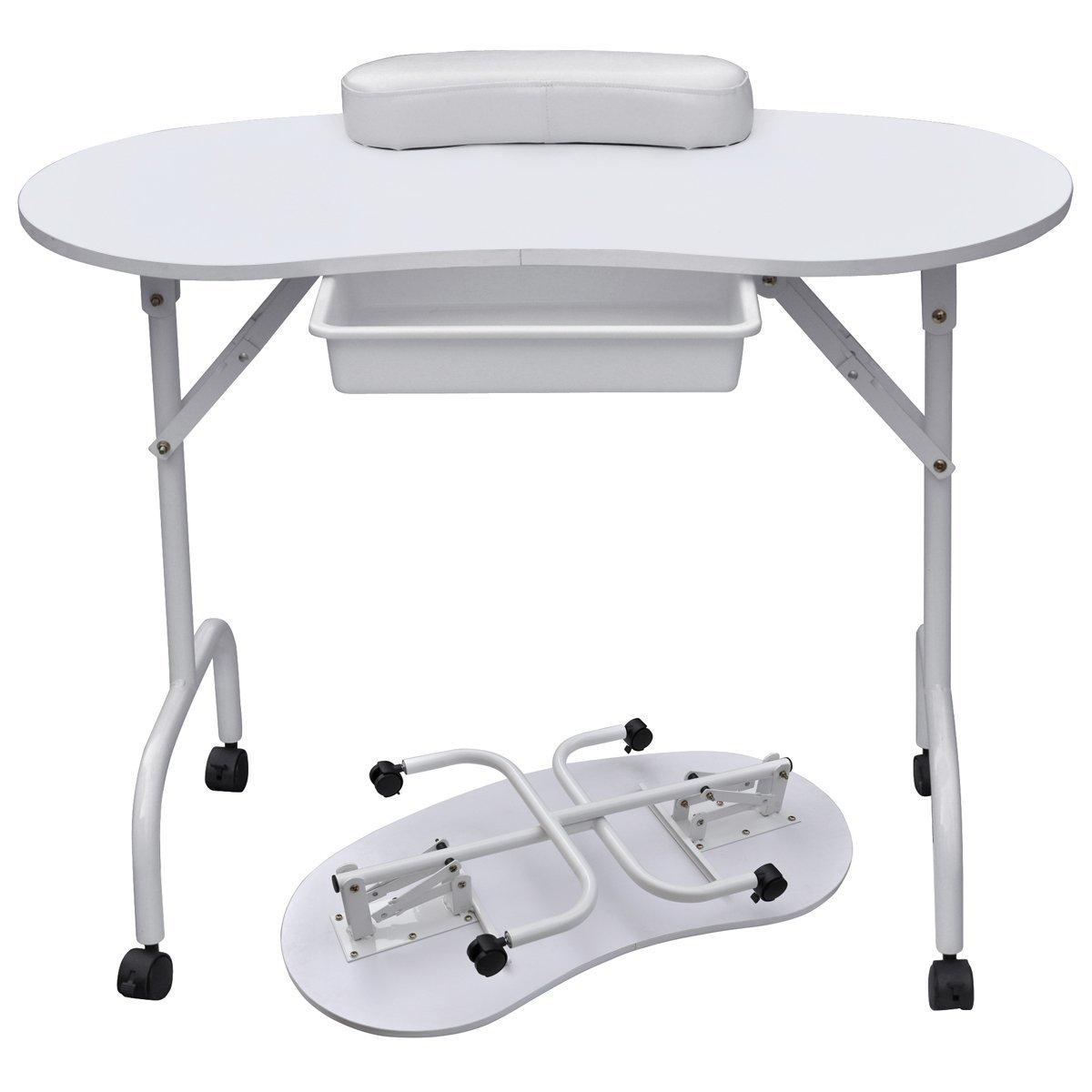 Yaheetech 37L Portable & Foldable 1-Drawer Manicure Table Nail ...