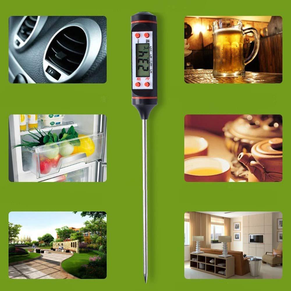 Lasamot Termometro a sonda 5 Secondi a Lettura istantanea Display Digitale LCD Sonda Super Lunga per la misurazione del climatizzatore per Veicoli Acqua per Alimenti Temperatura Interna Indoor