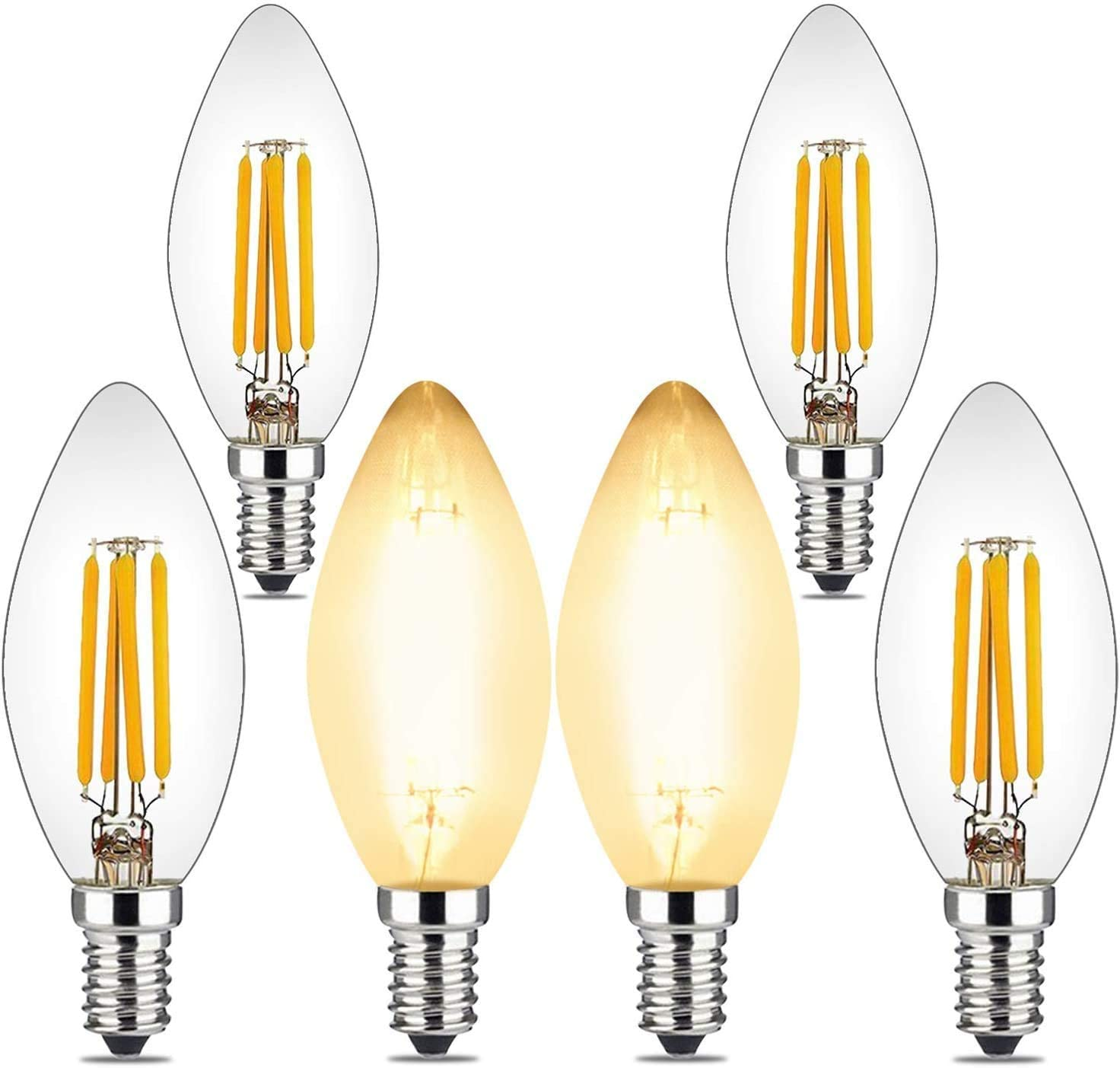 4W Candelabra Led Bulbs Dimmable, 40 Watt Equivalent, E12 Base, 2700K Warm Glow, C35 B10/B11 Filament Led Candle Light Bulbs for Foyer Chandeliers, Ceiling Fans and Other Wall Fixtures, 6Pack
