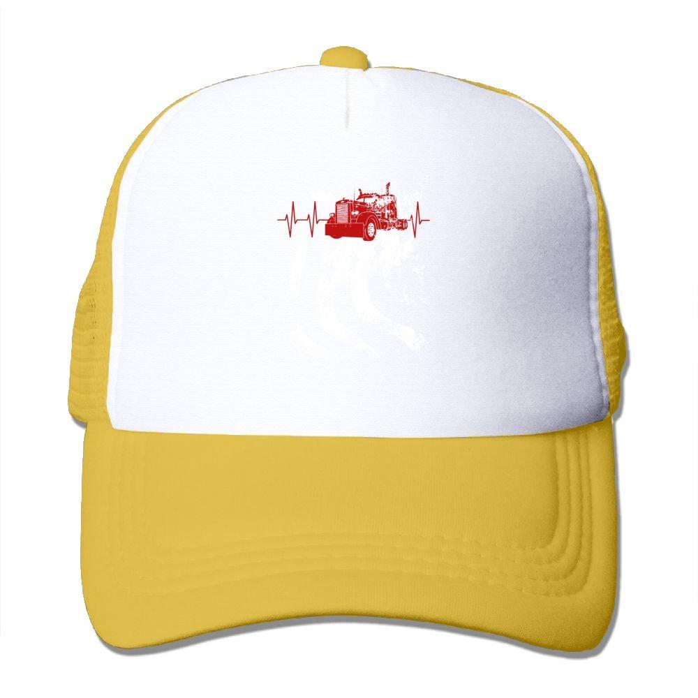 825a802a9f5 Amazon.com  Hanfjj Kefdk Mesh Baseball Cap Heartbeat Truck American Flag  Unisex Adjustable Trucker Hat  Clothing