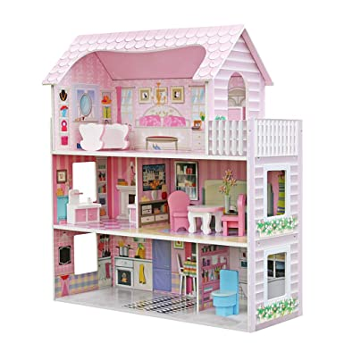 Amazon Com Xinnio Large Children S Wooden Dollhouse Kid House Play