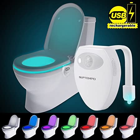 Suptempo Rechargeable Toilet Light Led Sensor Motion Activated Bathroom Night Light With 8 Colors Changing