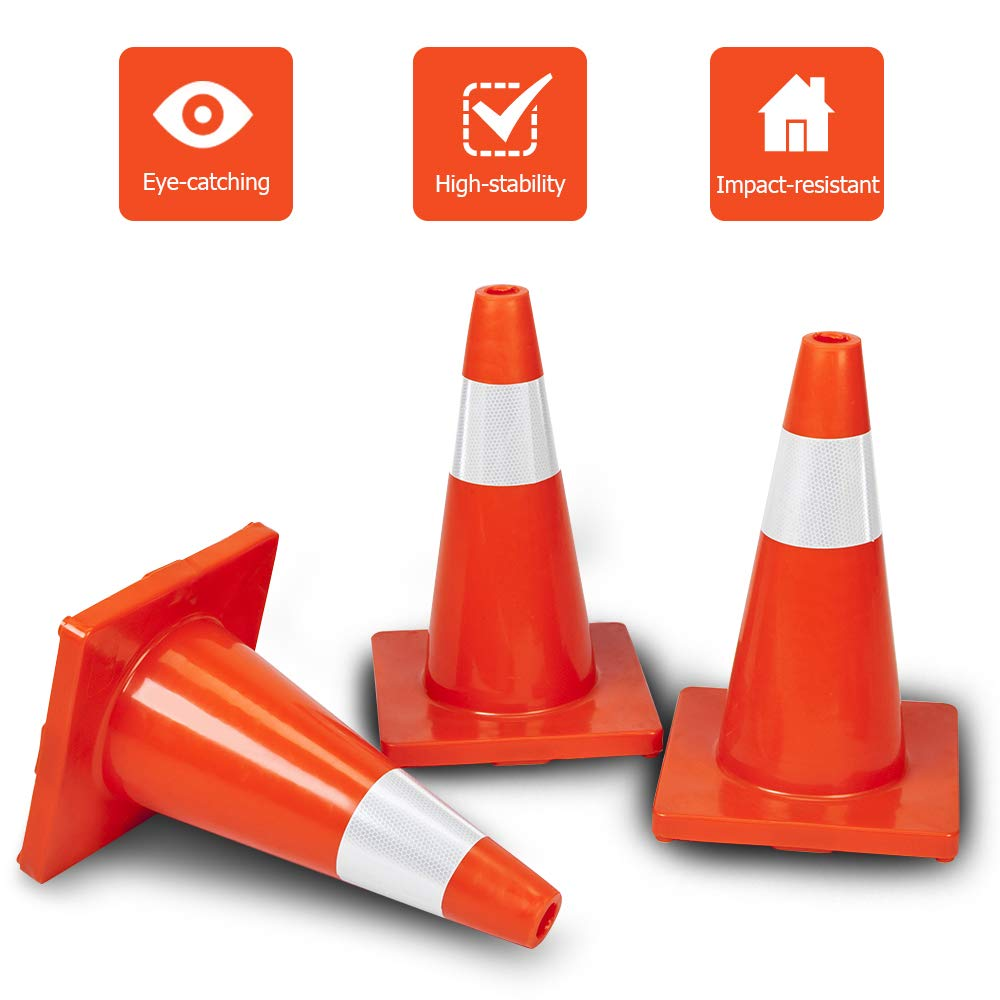 ROVSUN 10Pcs Safety Traffic Cones, 18'' Orange Slim Fluorescent Reflective Collars, Road Parking Field Marker Cones for Outdoor Activity & Festive Events Multipurpose by ROVSUN (Image #5)