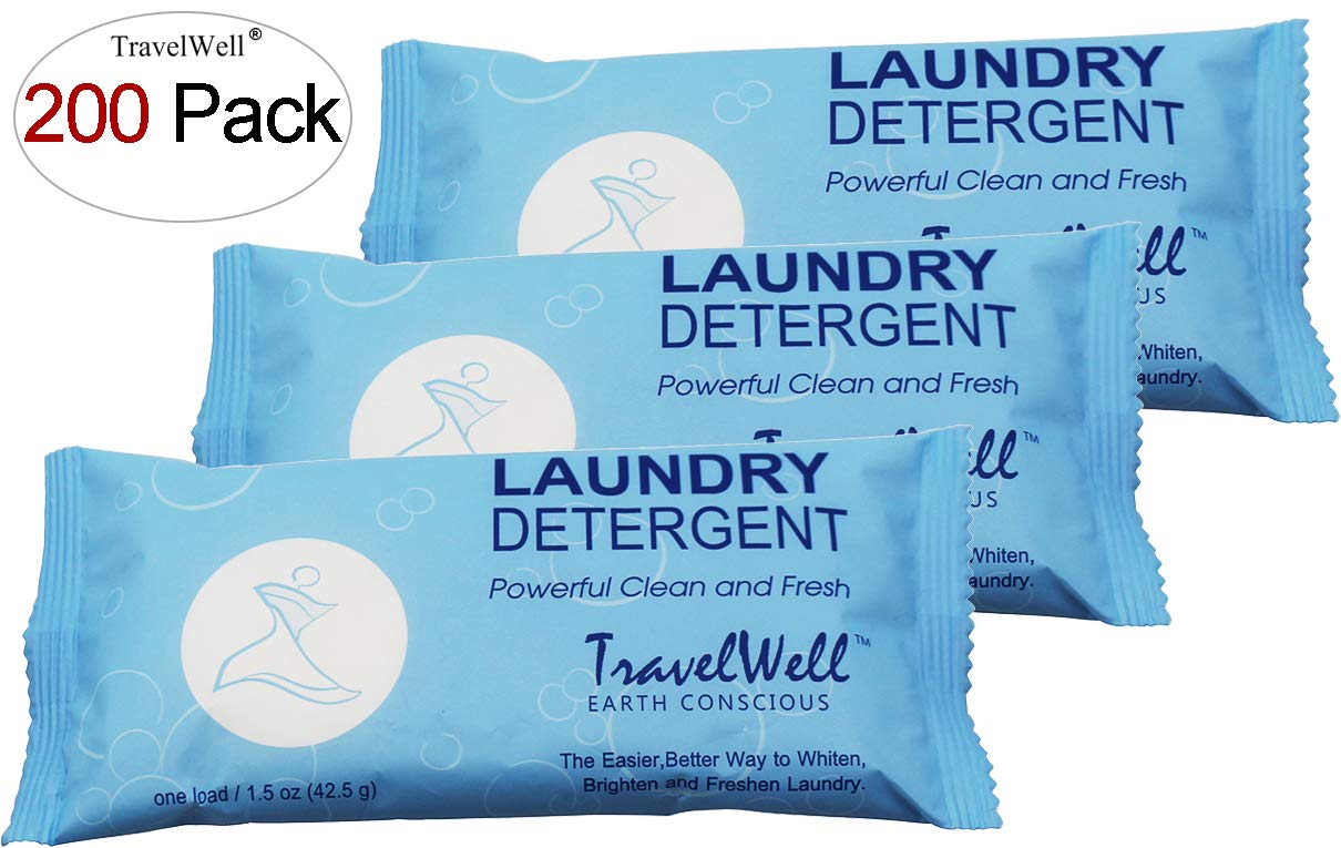 TRAVELWELL Individually Wrapped Travel Size Powder Laundry Detergent,1.5 Ounce per Bag,200 Bags per Case Hotel Toiletries Amenities Disposable Laundry Stain Remover Soap Powder by Travelwell