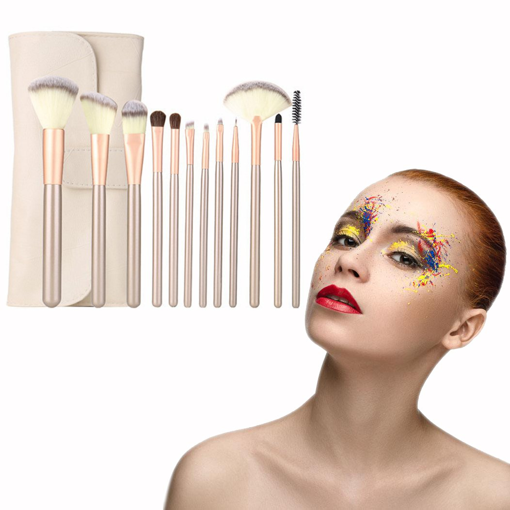 OFKPO Set of 12 Kabuki Cosmetics Makeup Brushes With Wooden Handle And Synthetic Bristles Makeup Brushes Tools With PU Case