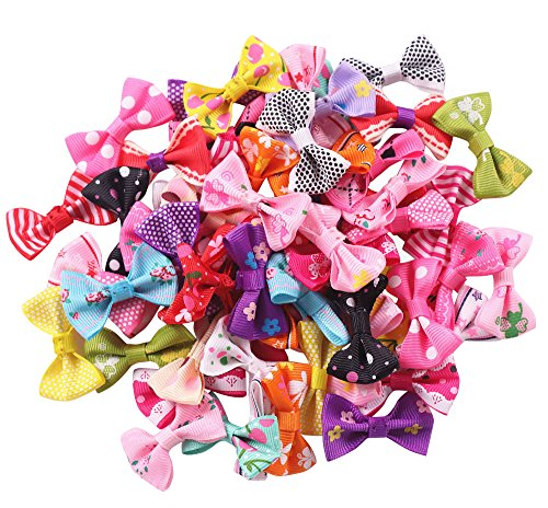 YAKA 60pcs(30pairs) 1.5inch Grosgrain Ribbon Mini Bow Ties Craft Rose Appliques Craft Wedding Hair Bow DIY Decor 30Color (Style2)