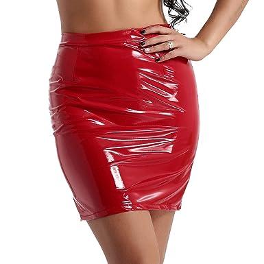 0a2a651bbac4 iixpin Damen Minirock Knielang Wet-Look Rock in Lack schwarz/rot  Figurbetont Rock glänzend Micro GOGO Clubwear Party Dress Gr.SL
