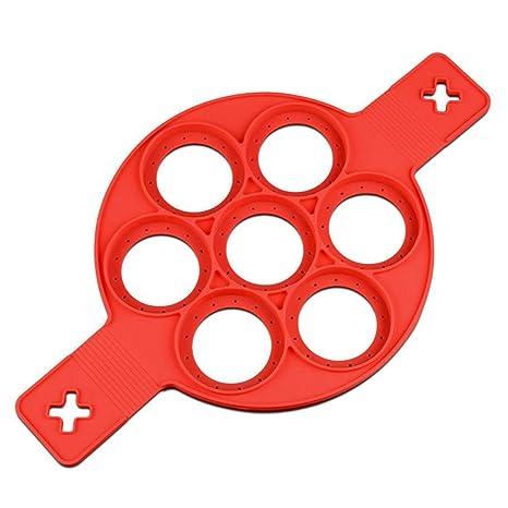 SODIAL (R) agujero redondo antiadherente de silicona para tortitas de huevo y anillas de