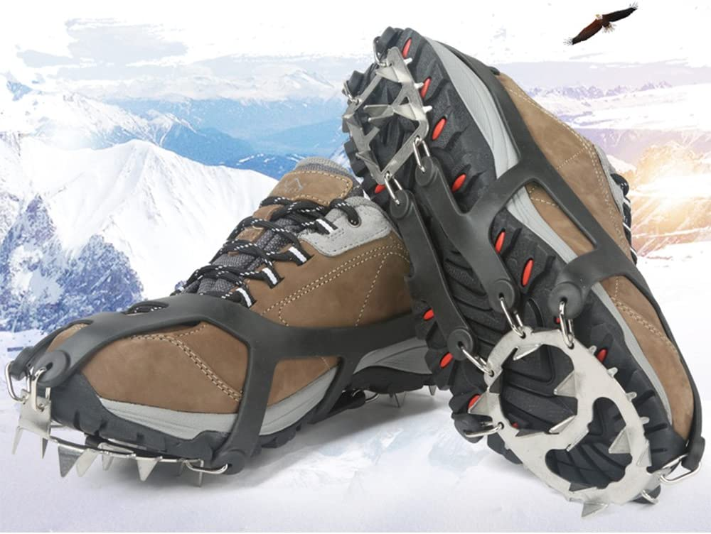 Hiking Walking Fishing Climbing LYTOPTOP Ice Cleats Crampons Traction Grippers for Boots /& Shoes Men Women Ice Grips with 19 Stainless Steel Spikes and Stretchy Silicone for Mountaineering