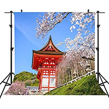 Natural Photography Backgrounds 6FTx6FT Japanese Red Architecture Backdrop Beautiful Cherry Blossoms Holiday Background Blue Sky Natural Scenery for Studio Shooting Background or YouTube ST660250