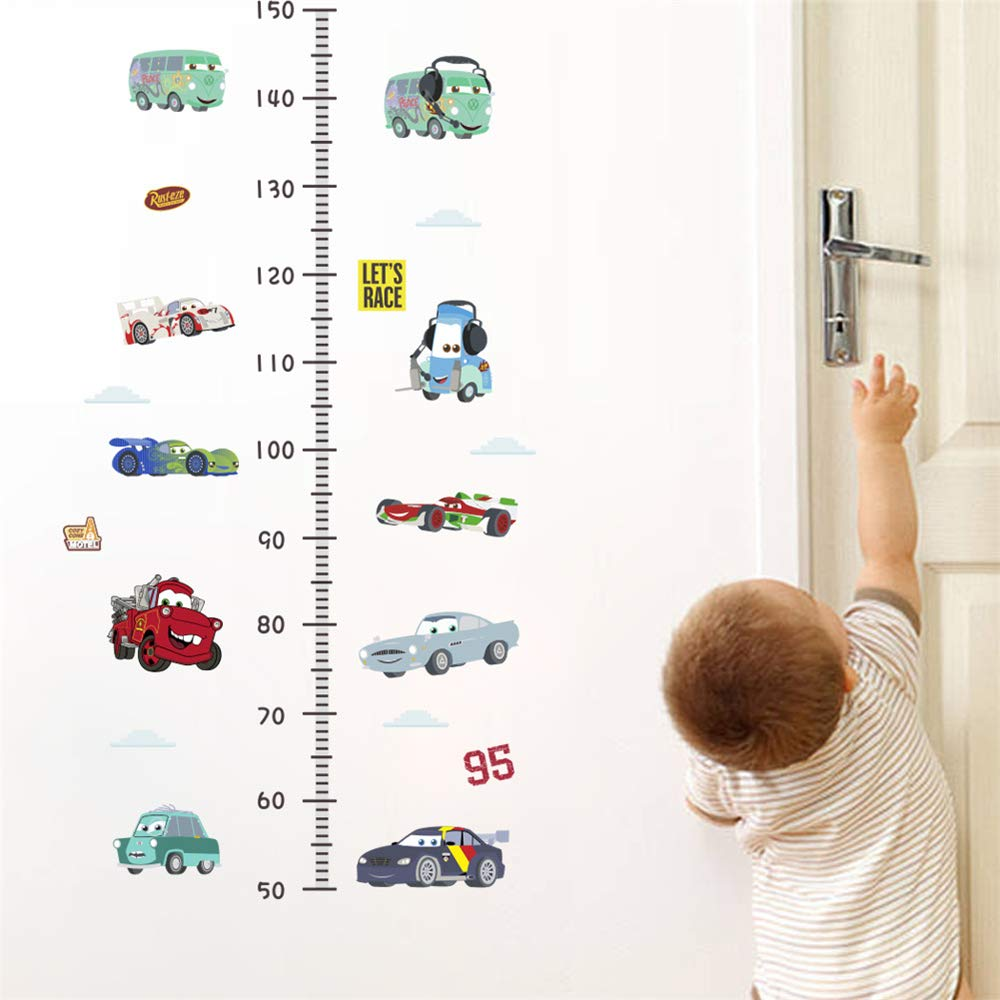 ufengke Voitures Hauteur Mesure Stickers Autocollant Murale Let's Race Vinyle Amovible Toise Stickers Muraux pour Chambre d'enfants Salon FangKuai