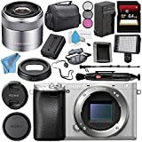 Sony Alpha a6300 Mirrorless Digital Camera (Silver) ILCE-6300/S + Sony E 30mm f/3.5 Macro Lens SEL30M35 + NP-FW50 Replacement Lithium Ion Battery + External Rapid Charger Bundle