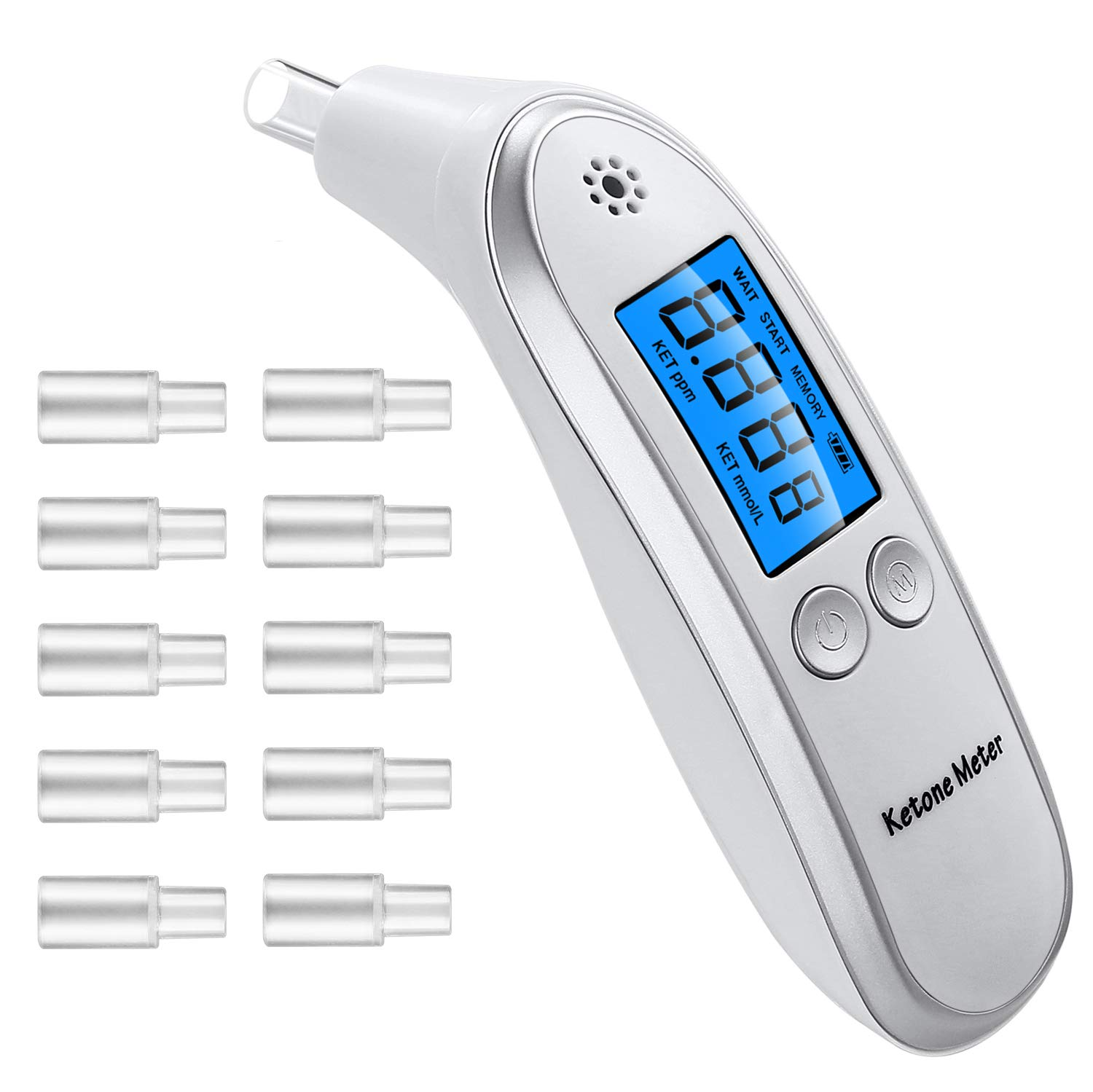 Ketone Meter, Portable Digital Ketone Breath Analyzer, Ketogenic Analyzer with 10pcs Replaceable Mouthpieces - White by SXINEN