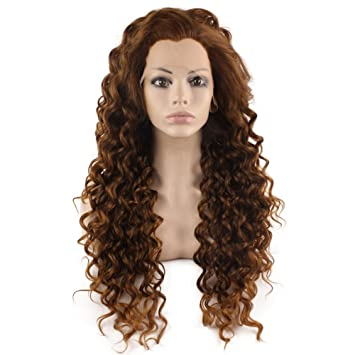 Amazon Com Mxangel Long Curly Lace Front Synthetic Hair Blond