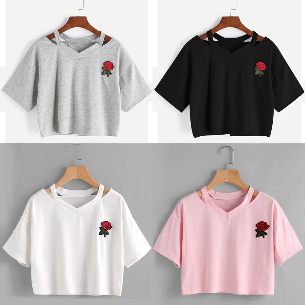 Snowfoller - Camiseta de manga corta para mujer con bordado de ...