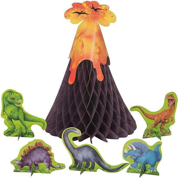 Unique Party- Decoración de Mesa de Dinosaurios y Volcán Conjunto de 6 (58309): Amazon.es: Juguetes y juegos