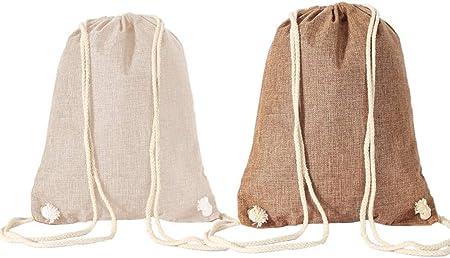 WYNIE Mochila de Cuerdas Mujer de Rafia Bolsa de Cuerdas para Playa Gimnasio Deporte Ajustable para Verano
