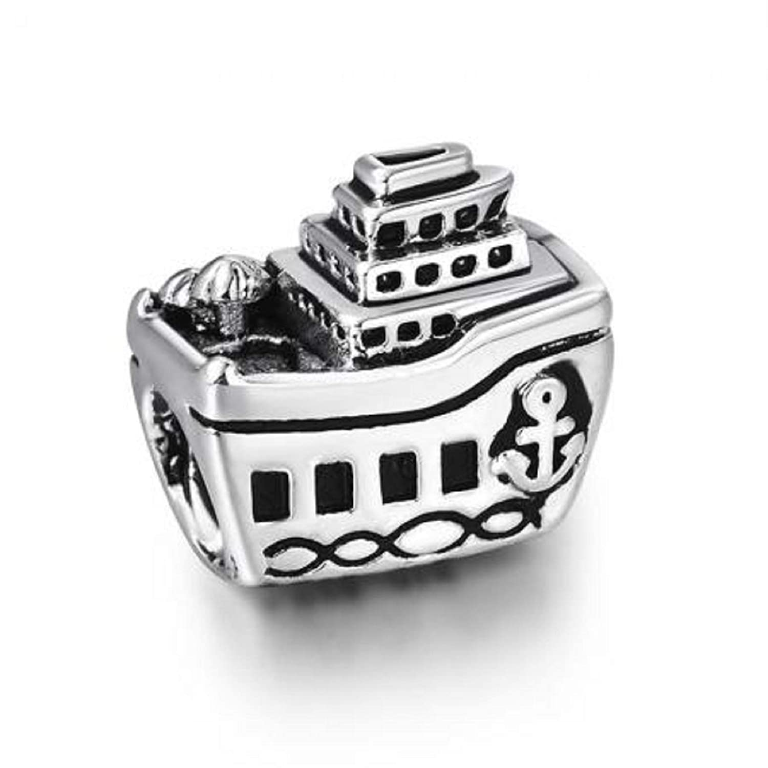 f197ea9df EVESCITY Silver Cruise Ship Boat Note Bead Sterling Charm Fits Pandora &  Similar Bracelets: Amazon.ca: Jewelry