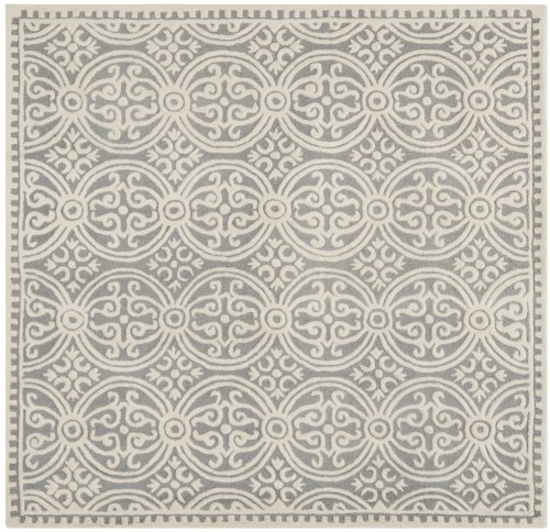 Safavieh Cambridge Collection CAM123D Handcrafted Moroccan Geometric Silver and Ivory Premium Wool Square Area Rug (10