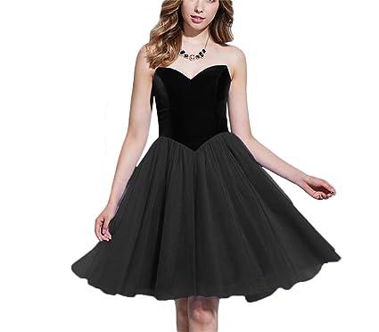 ed5df7e0306 FTBY Vintage Velvet Homecoming Dresses Jurnior Tulle Short Prom Dress  Sweetheart Bridesmaid Dresses 80s Black-