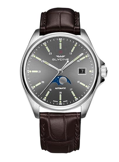 Glycine Combat Classic Moon Phase Fecha Fase lunar - Reloj de pulsera analógico automático 3948.101.lbk7 F: Amazon.es: Relojes