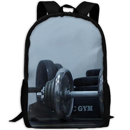 Amazon.com  KIENGG Black Dumbells Unisex Adult Custom Backpack ... ff27727778ec9