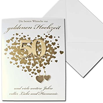 karte goldene hochzeit Karte Hochzeitskarte goldene Hochzeit 50 Jahre Herzen Vier
