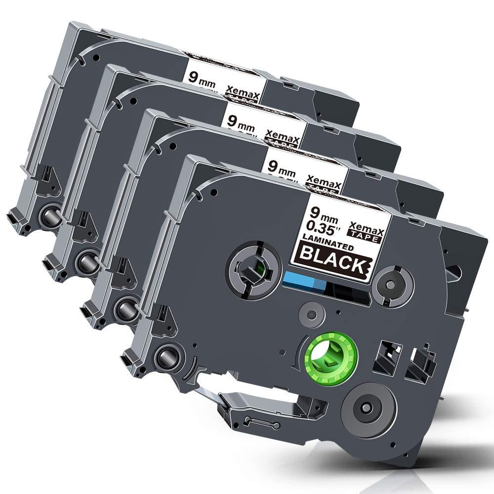 4x Tze 0.35 Xemax Nastri Compatibile P-touch 9mm x 8m Tze-325 TZ-325 Bianco su nero Etichette a Cassetta per Brother P-touch PT-H101C PT-D400VP PT-D210 PT-D450 PT-2730 PT-H110 PT-1010 PT-P750W