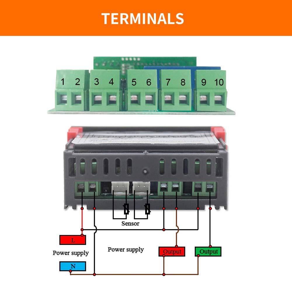 12 V regulador de temperatura dos rel/és de salida controlador de temperatura con sensor de doble sonda NTC KKmoon Termostato de visualizaci/ón digital dual sonda de sensor