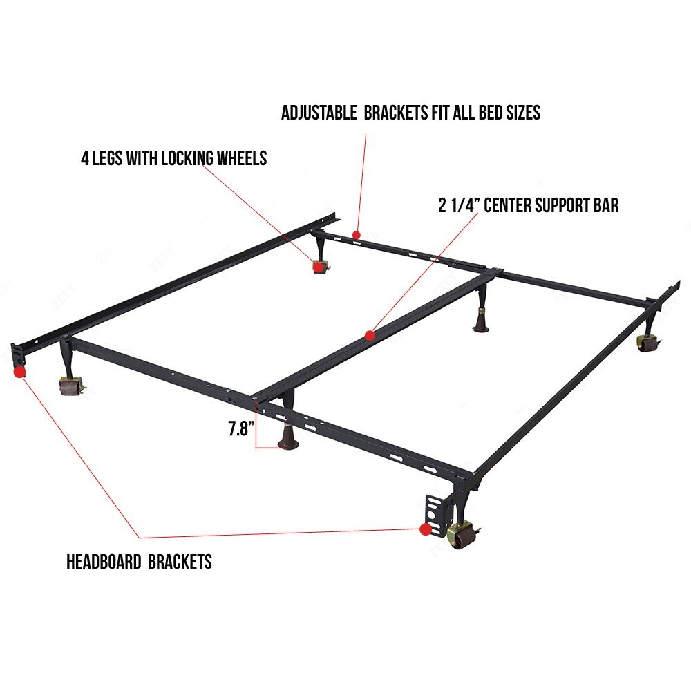 Mecor Adjustable Metal Bed Frameplatform Heavy Duty Sizes Diagram Dutywith Center Support Rug Rollers Locking Wheelstwin Full Queen Kitchen Dining