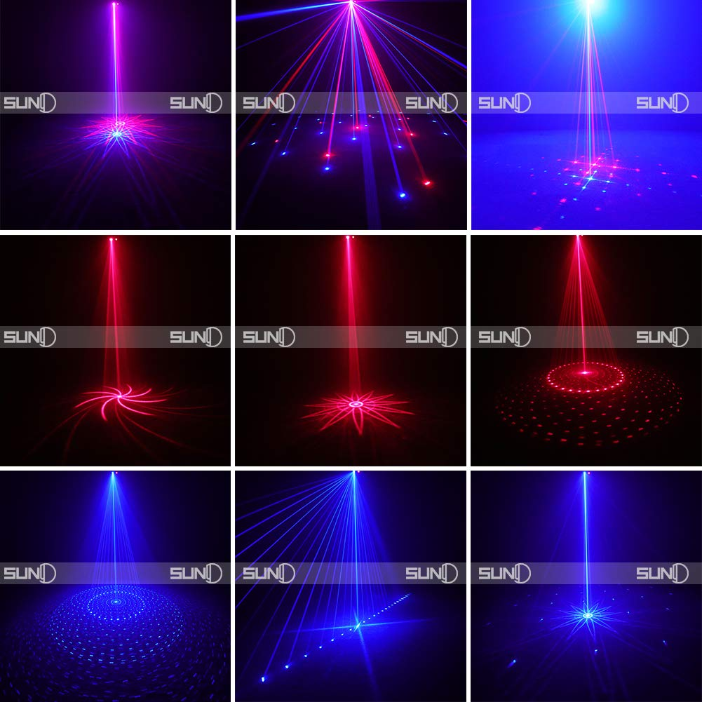 SUNY Laser Lighting 8 Gobos Effect Red Blue DJ Laser Light Blue LED Music Laser Projector Remote Control Sound Activated Stage Lighting Dance House Decoration Xmas Holiday Event Party Carnival Show by SUNY (Image #5)