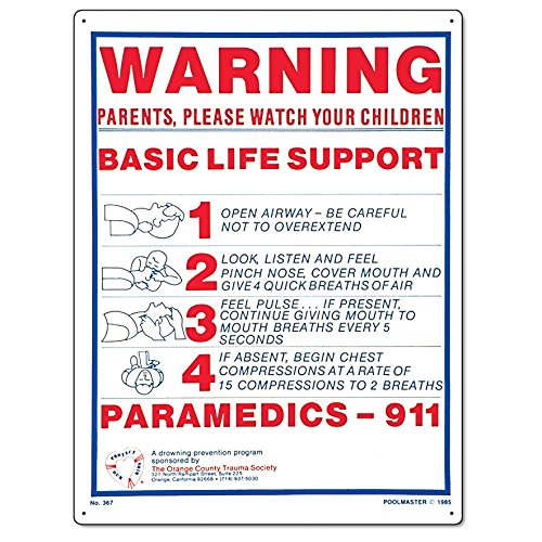Poolmaster 40367 Basic Life Support Sign for Residential or Commercial Pools