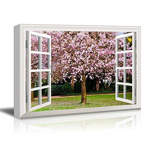 Creative Window View Sakura Flowers Blooming