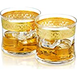Hand Etched Whiskey Glasses CATO | 24K Gold Etching | Made in Europe | Set of 2 x 7.8 oz Glasses | Gift Box.
