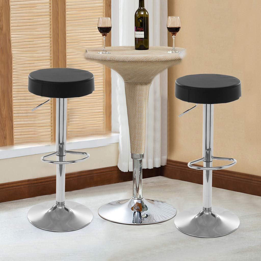 Kariwell Set of 2 Adjustable Bar Stools - Leather Counter Height 360° Swivel Stool Ideal Kitchen bar stools [Ship from US]