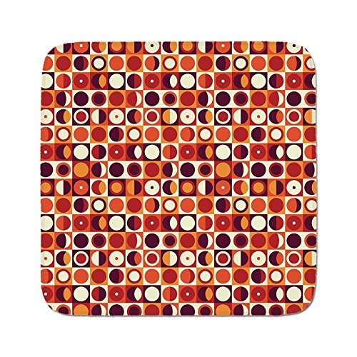 Cozy Seat Protector Pads Cushion Area Rug,Geometric,Vintage Sixties Circles with Squares Disc Vibrant Symmetric Motif Decorative,Cream Red Maroon Marigold,Easy to Use on Any Surface