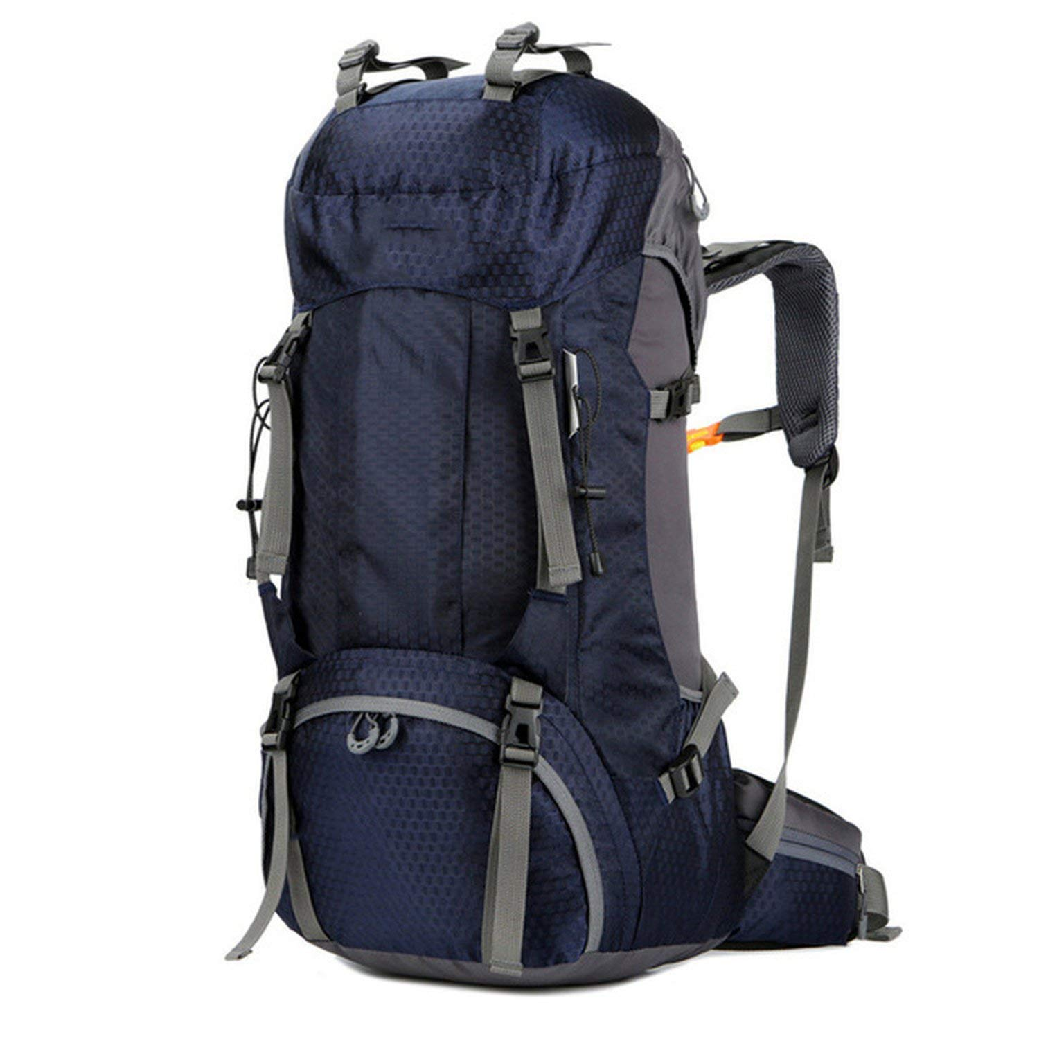 60L Deep bluee One Size New 50L & 60L Outdoor Backpack Camping Climbing Bag Waterproof Mountaineering Hiking Backpacks Sport Bag Climbing Rucksack