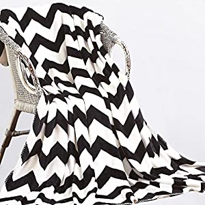 NTBAY Minimalism Series Throw Blankets Double-layered Flannel Plush Velvety Super Soft Cozy Warm with Black and White Printed Pattern by NTBAY