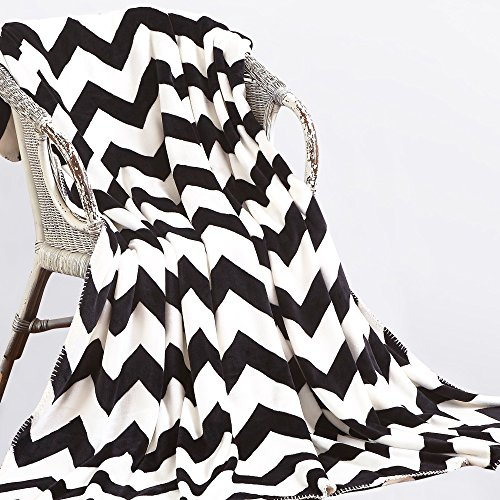 ies Throw Blankets Double-layered Flannel Plush Velvety Super Soft Cozy Warm with Black and White Printed Pattern(70