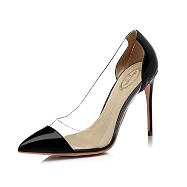 Damen Damen Court Schuhe Rot Spitze Schwarz High Heels Flach Cut Stilettos Sexy Transparente Glas Gummi Mischfarbe...